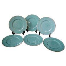 """Royal Doulton  6pc Green Gold Gilt 10 1/2"""" Scalloped Rim Dinner Plate"""