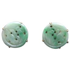 Carved Green JADE Floral Design 14K Yellow Gold Asian Chinese Screwback Earrings