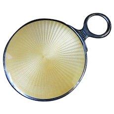 Vintage STERLING Silver Yellow Sunburst Enamel GUILLOCHE Hand Vanity Mirror
