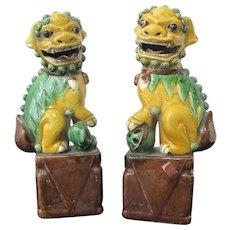 Chinese QING Dynasty Sancai Glazed FOO DOG Pottery Figurine Set w/Red Wax Seal
