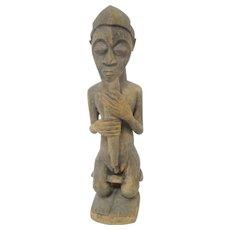 Large BAULE Ivory Coast West African Carved Wood Art Male Spirit Figure STATUE