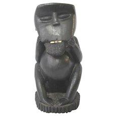 Large Carved EBONY WOOD Primate Monkey with Teeth African FOLK ART Sculpture