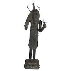 """African BENIN Bronze Tribal Edo WARRIOR 46"""" Tall Statue Sculpture"""
