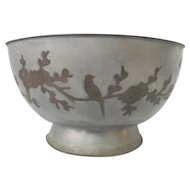 Chinese PAKTONG Metal Bowl Inlaid w/Bird & CHRYSANTHEMUM Flower Branches