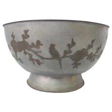 Chinese PAKTONG Metal Bowl Inlaid w/Bird & CHRYSANTHEMUM Flower Branches