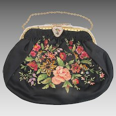 Vintage Black Satin Finely BEADED Embroidery & Enamel Clutch Chain Purse Bag