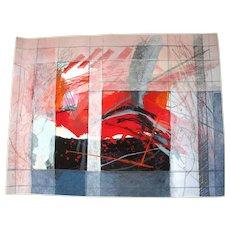 Calman SHEMI Abstract Modern Art Soft Painting Wool Rug Tapestry FOG & COLOUR