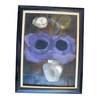 Brenda BARNUM Abstract FLOWER in Vase Signed Original Oil Painting