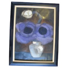 Brenda BARNUM Abstract FLOWER in Vase Signed Original Oil Painting