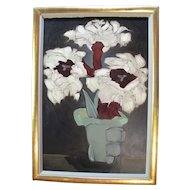 Brenda BARNUM Abstract White & Red FLOWERS in Vase Signed Original Oil Painting