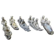 ASHANTI African BRONZE Metal Tribal Set of 5 Figural CANOE Boat Figurines