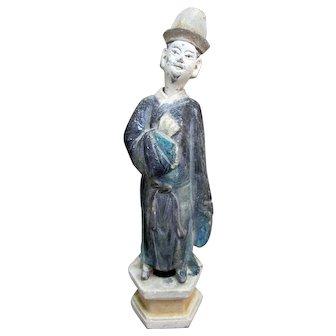Primitive CHINESE Imperial Nodder MING Dynasty Purple Sancai Glaze Removable Head