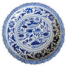 CHINESE Cobalt Blue & White Large Heavyweight Porcelain BIRD & Leaf Design Bowl