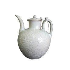 Chinese CELADON Green Glaze Pottery WINE Jug Pot w/LOTUS LEAF Floral Design