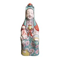 FAMILLE ROSE Chinese Fine Detailed Porcelain Figurine Statue of Figure w/Child