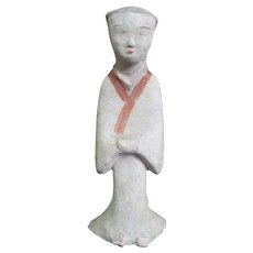 Antique CHINESE Clay Tomb Figure Burial Statue Figurine of Robed ATTENDANT