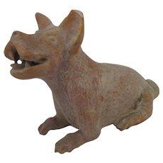 CHINESE Petite Asian Burial Tomb TERRACOTTA Guard Dog Figurine Statue Sculpture