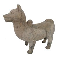 CHINESE Asian Burial Tomb TERRACOTTA Large Guard Dog Figurine Statue Sculpture