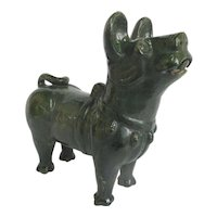 CHINESE Asian Green Glaze Large Burial Tomb Pottery DOG Figurine Statue