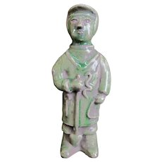 CHINESE Green Glaze Clay Pottery Tomb Figurine Statue of Man Male ATTENDANT