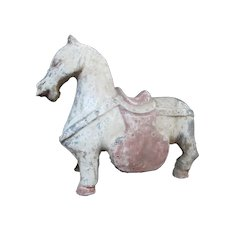 Primitive HAN DYNASTY Chinese Burial Tombstone Pottery HORSE Sculpture w/Saddle