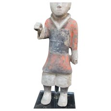 Primitive CHINESE Han Dynasty Terracotta SOLDIER Figure Sculpture on Stand