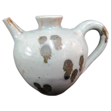 """Small Spotted Chinese CELADON Antique 3 3/4"""" Tall Oil Pot Jug"""