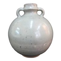 """Antique CHINESE 6 1/2"""" Tall CELADON Globular Pot with Double Loop Handles"""