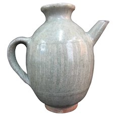 "Chinese CELADON Antique 5"" Tall Ribbed Pottery Pitcher Jug Ewer"