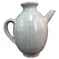 """Chinese CELADON Antique 5"""" Tall Ribbed Pottery Pitcher Jug Ewer"""
