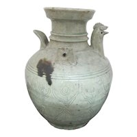 Chinese CELADON Jin Style Pottery CHICKEN Head Ewer Pitcher Jug Incised Flowers