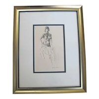 RANDALL DAVEY Signed Original Pen & Ink NUDE Female Portrait Framed DRAWING