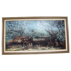 Mary Ellen Atwood Large FARM Scene ARIVACA Oil on Canvas Signed Framed Painting