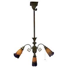 Muller Freres ART DECO Orange Purple Triple Glass Hanging Pendant Light Fixture