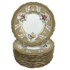 "CAULDON England TIFFANY & Co Gold GILT Bright Flower 9"" Luncheon Plate Set of 12"