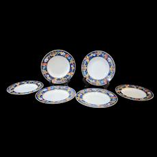 "BERNARDAUD Limoges 6pc Cobalt ROMA BLEU.Greek Key Floral 8 1/2"" Shallow Bowl"