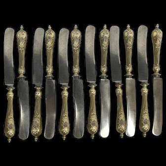 GERMAN 800 Silver & Gold Vermeil Art Nouveau Swirl Handle 12pc Knife Set S Mono