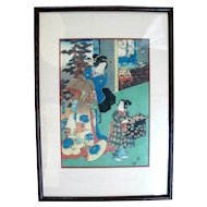 Framed Antique KUNISADA II Japanese Woodblock c1858 Courtesan & Helper