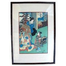Framed Antique KUNISADA II Japanese Woodblock c1858 Courtesan & Helper