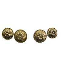 """Gold Plated SHERLE WAGNER Ribbon & Reed ROSETTE 1 3/8"""" Drawer Knob Set of 4"""