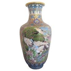 "Chinese Large 16"" Cloisonne Vase w/CRANES & Flower Blossoms"