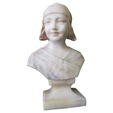 Signed Art Nouveau MARBLE Bust of Young Girl w/Hat Signed Statue Figurine