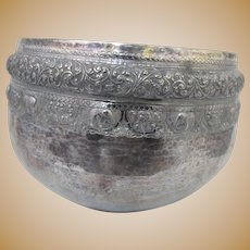 Large BURMESE Finely Detailed Hand Wrought REPOUSSE Coin Silver Monks Bowl