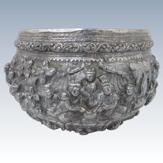 BURMESE Finely Detailed Figural Ramayana REPOUSSE Coin Silver Monks Bowl