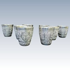 Antique Finely Detailed Hand Wrought REPOUSSE 8pc Coin Silver Drinking Cup Set