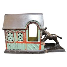 Antique 1880 J & E Stevens MULE Entering the BARN Mechanical Toy Bank