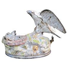 Antique J & E Stevens EAGLE Feeding EAGLETS Baby Bird Nest IRON Mechanical Bank
