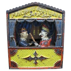 Antique PUNCH & JUDY Shepard Mechanical Cast Iron Toy Bank
