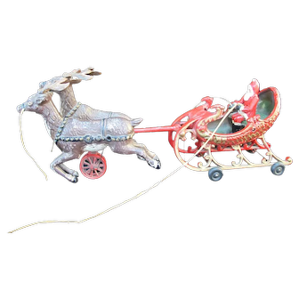 Antique Hubley Style SANTA SLEIGH Mechanical Cast Iron Toy w/2 Prancing REINDEER