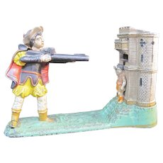 WILLIAM TELL Shooting J & E Stevens Bailey Cast Iron Antique Mechanical Toy Bank